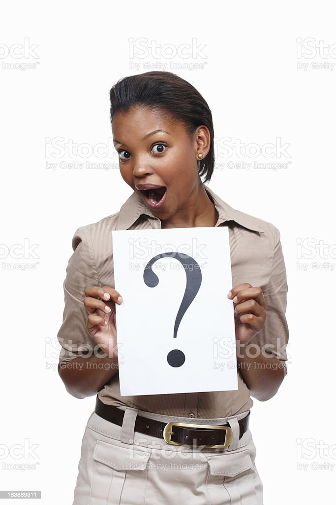 Cute woman reacting to the answer stock photo