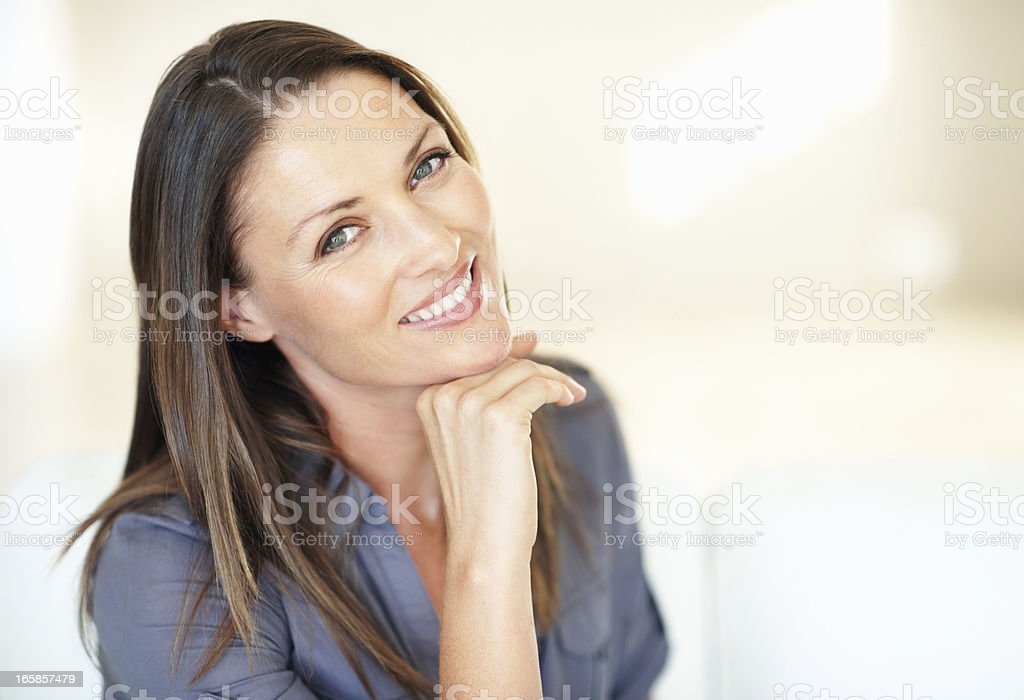 Cute woman smiling stock photo