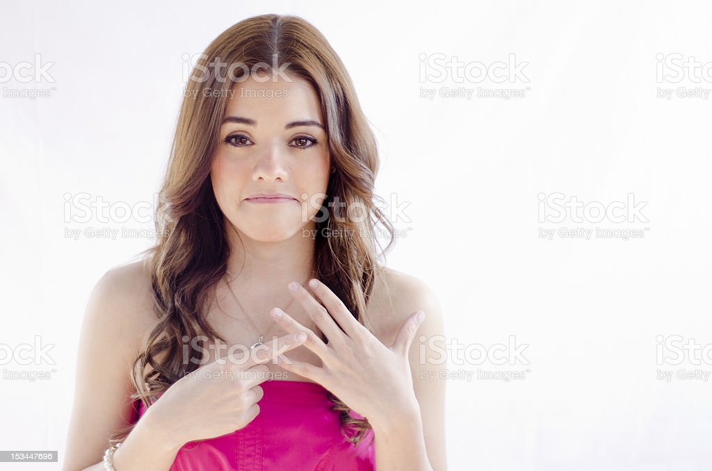 Cute woman wants a ring on her finger stock photo