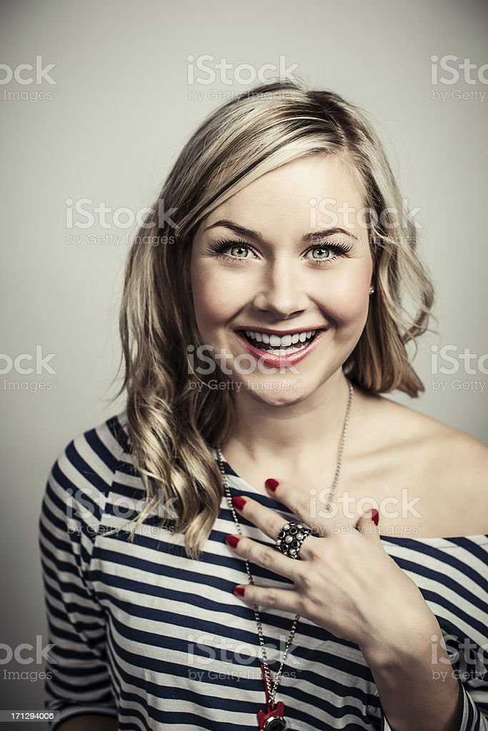 Cute woman with big bright smile stock photo
