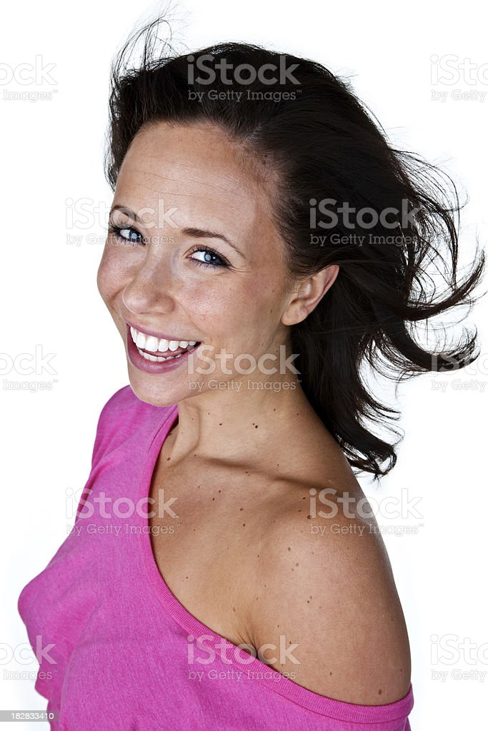 Cute woman with big smile royalty-free stock photo