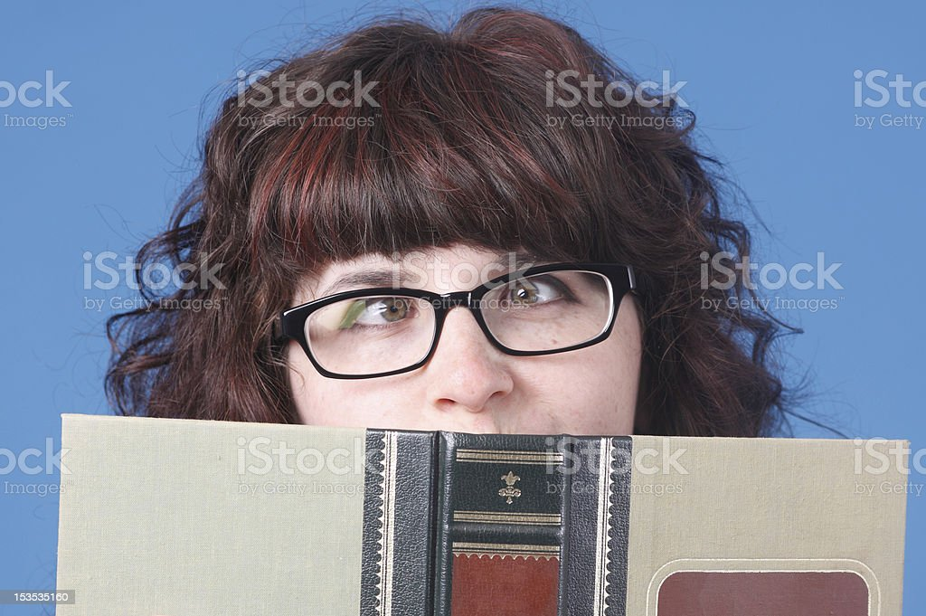 Cute woman with book royalty-free stock photo