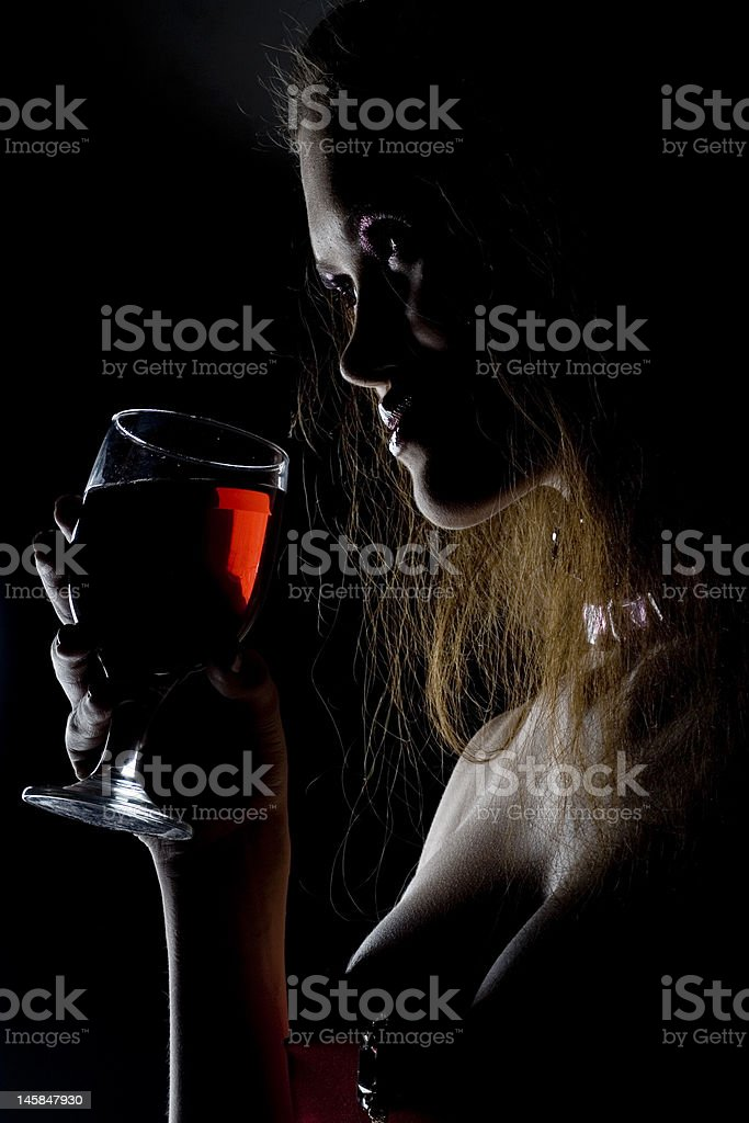 Cute woman with drink royalty-free stock photo