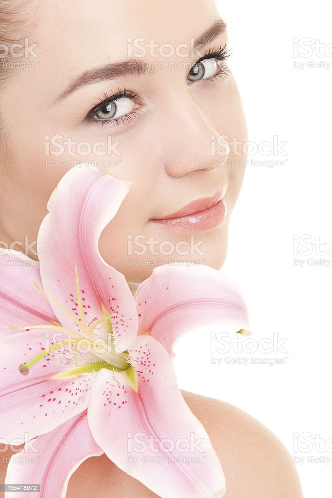 Cute woman with flower royalty-free stock photo