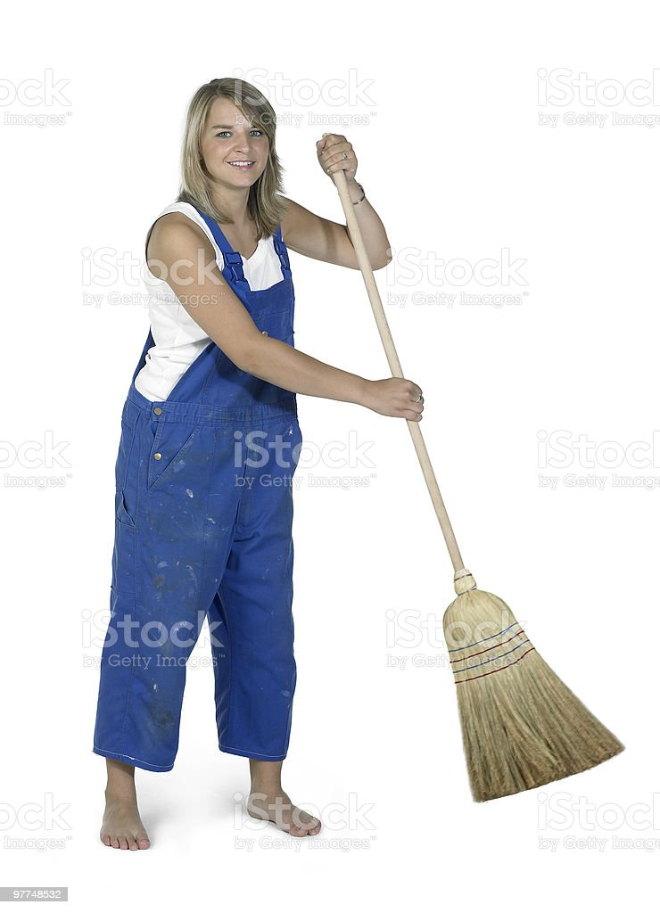 cute working girl with besom royalty-free stock photo