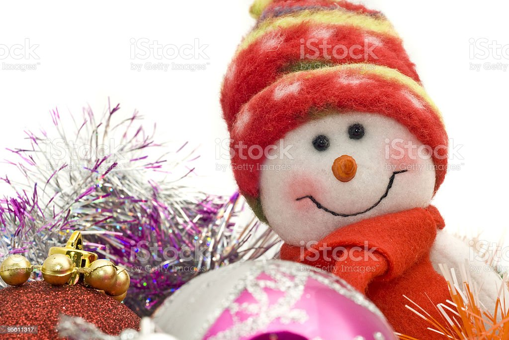 Cute Xmas snowman and decoration baubles royalty-free stock photo
