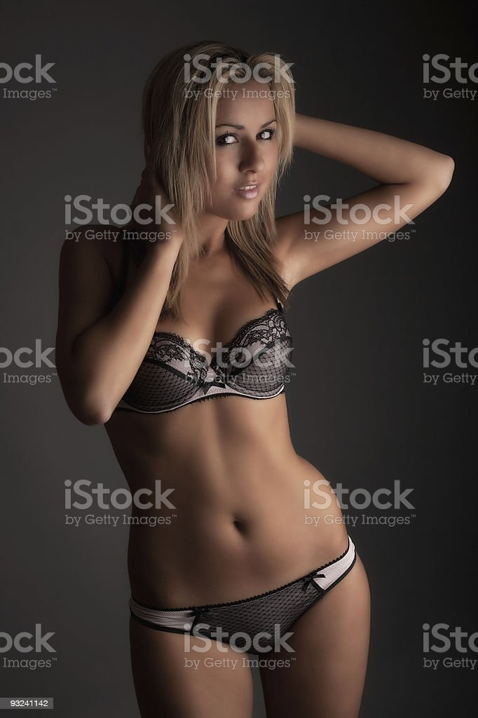 Cute young blonde girl - Lingerie royalty-free stock photo