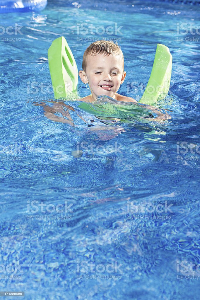 Cute Young Boy in Pool royalty-free stock photo