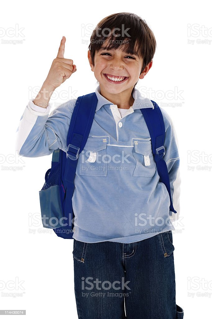 Cute young boy pointing upwards royalty-free stock photo