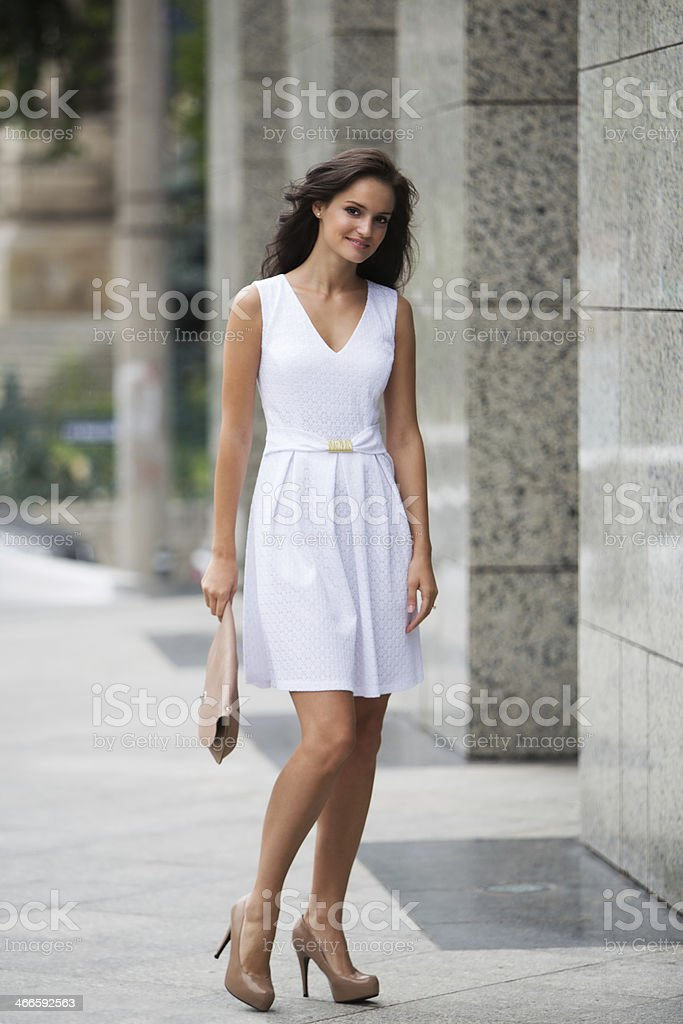 Cute young brunette smiling royalty-free stock photo