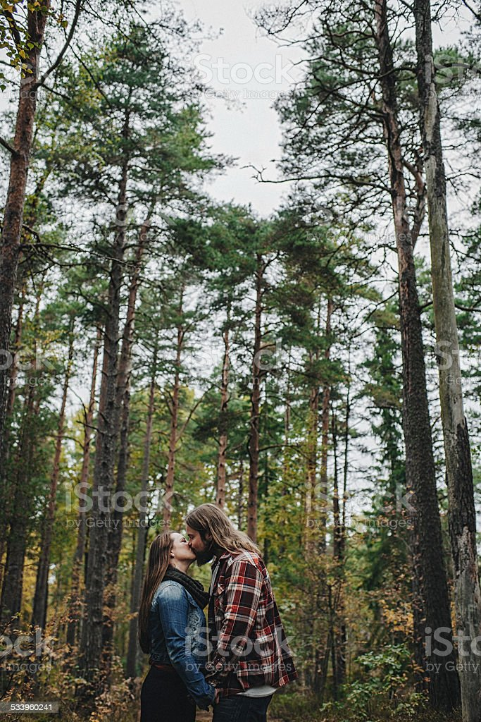 Cute young couple outdoors in nature stock photo