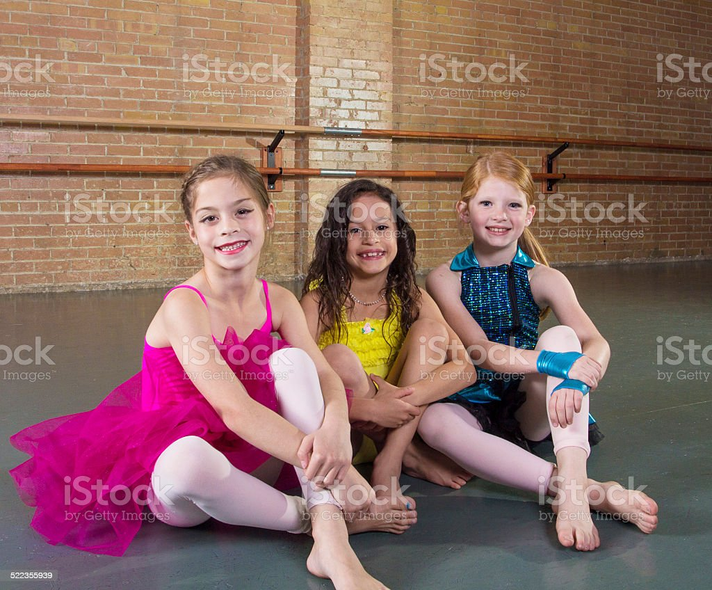 Cute young dancers at a dance studio stock photo