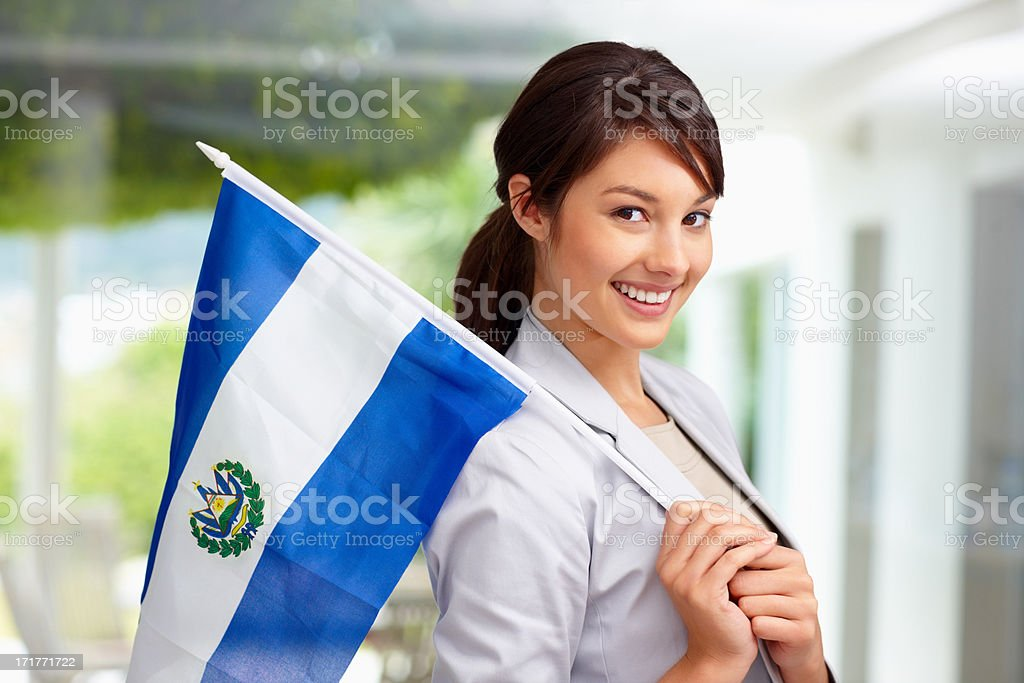 Cute young female with an El Salvadorian flag stock photo