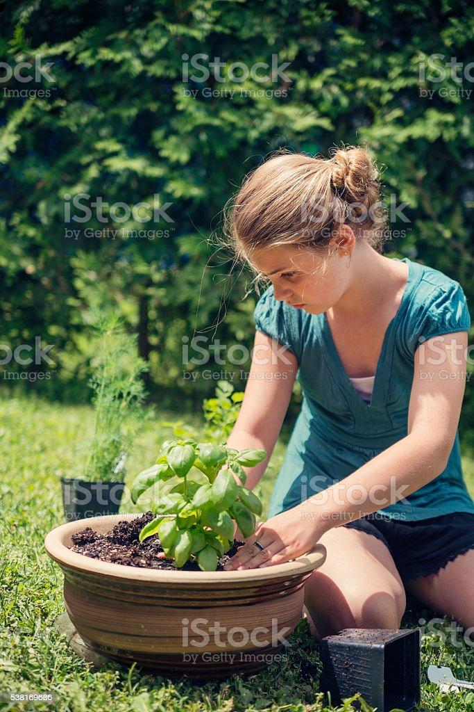 Cute young girl gardening in backyard outdoors. stock photo