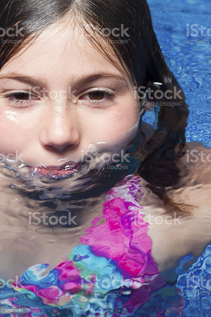 Cute Young Girl in Water royalty-free stock photo