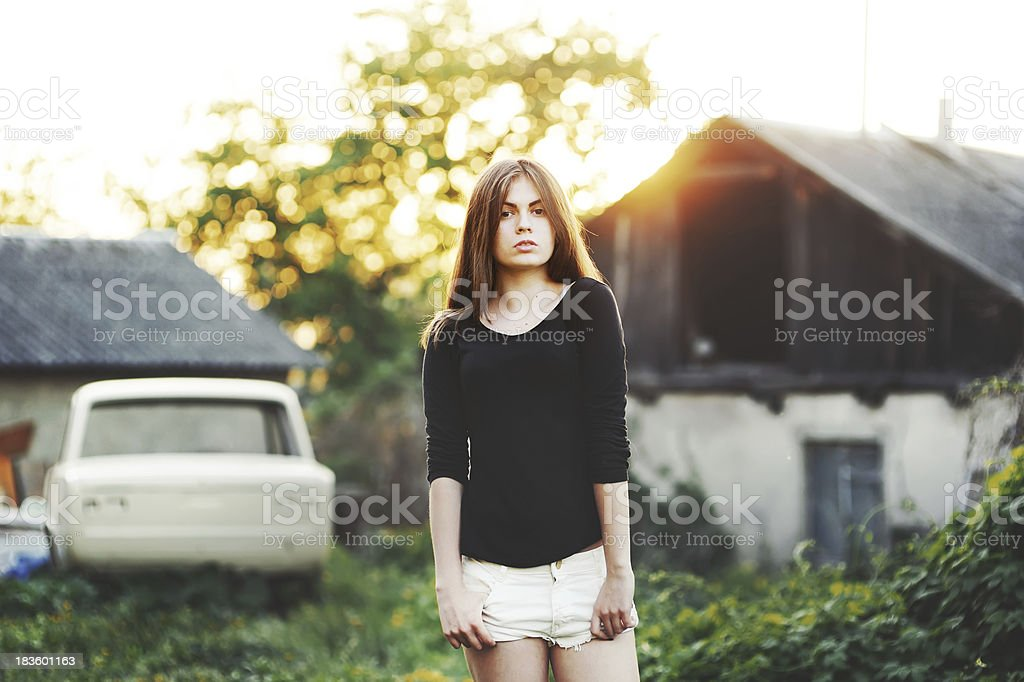 cute young girl portrait during sunset royalty-free stock photo