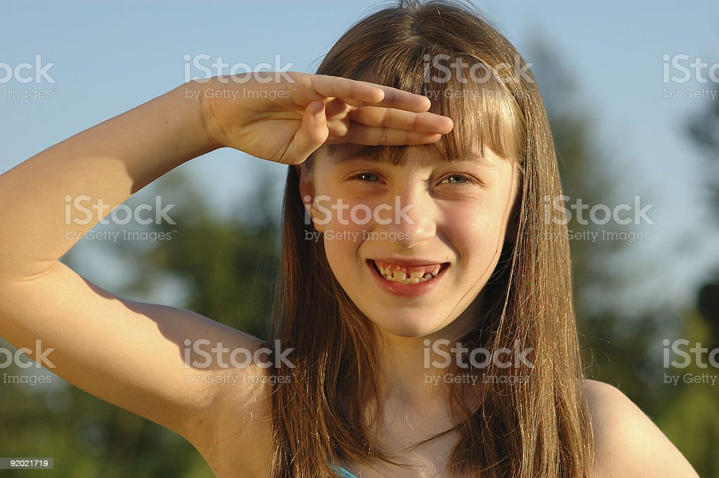 Cute Young Girl Saluting royalty-free stock photo