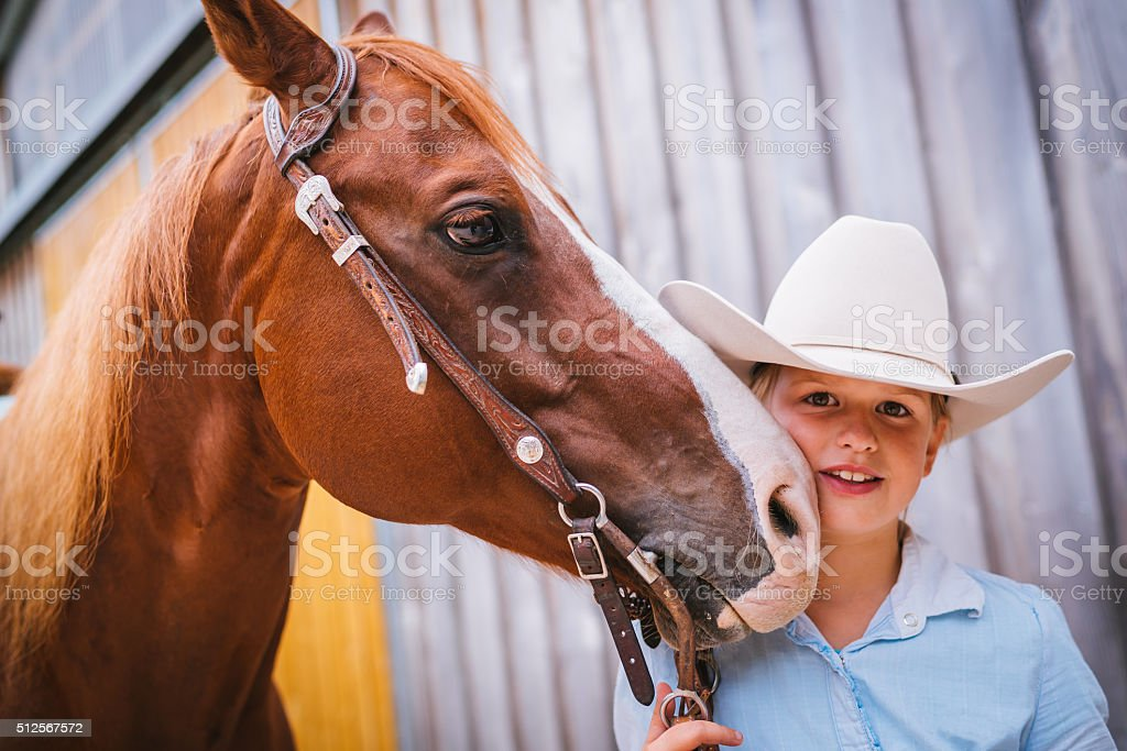 Cute young girl together with her horse stock photo