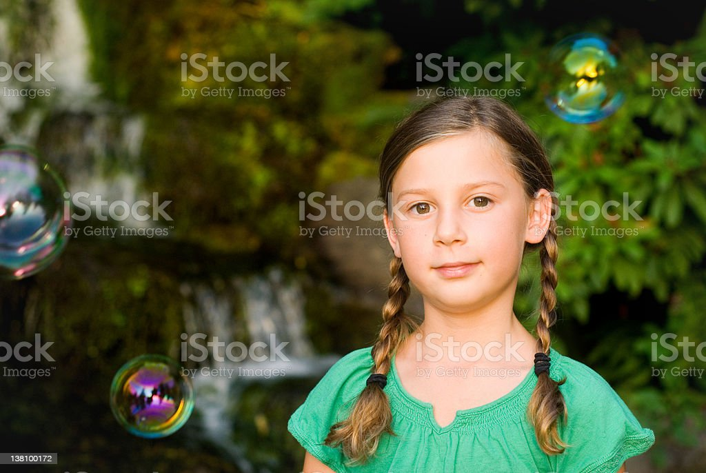 cute young girl with and bubbles royalty-free stock photo