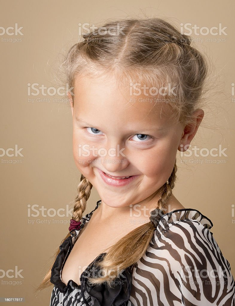 Cute young Girl with French braids royalty-free stock photo