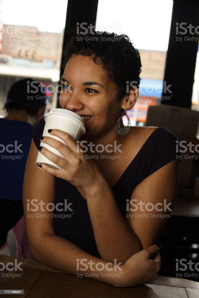 cute young lady drinking coffee royalty-free stock photo