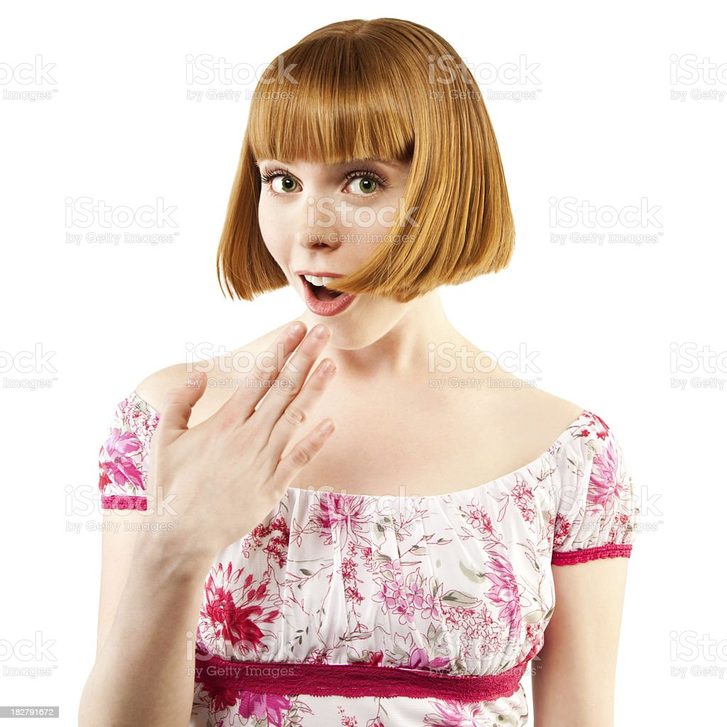 Cute Young Redheaded Woman Gasps, Looking Shocked royalty-free stock photo