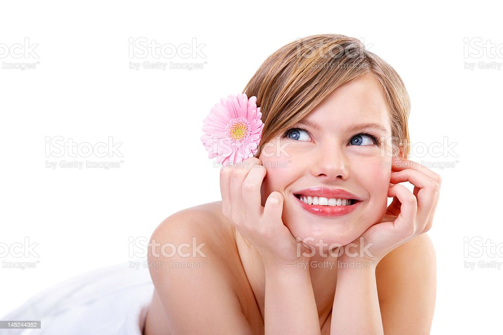 Cute young woman daydreaming royalty-free stock photo