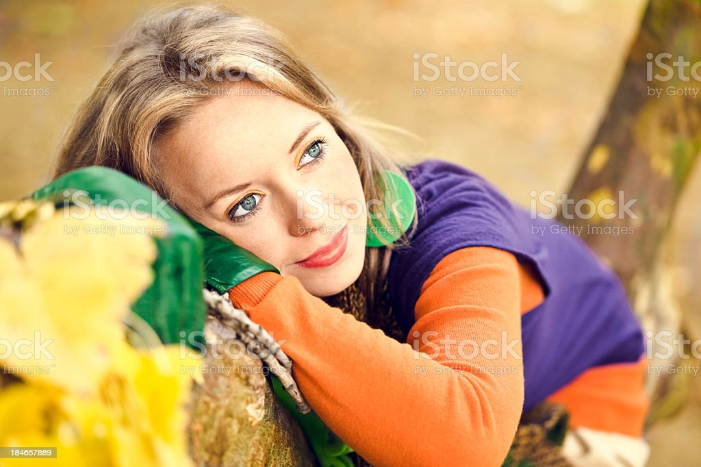 Cute young woman outdoors stock photo