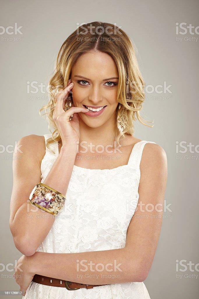 Cute young woman posing at camera royalty-free stock photo