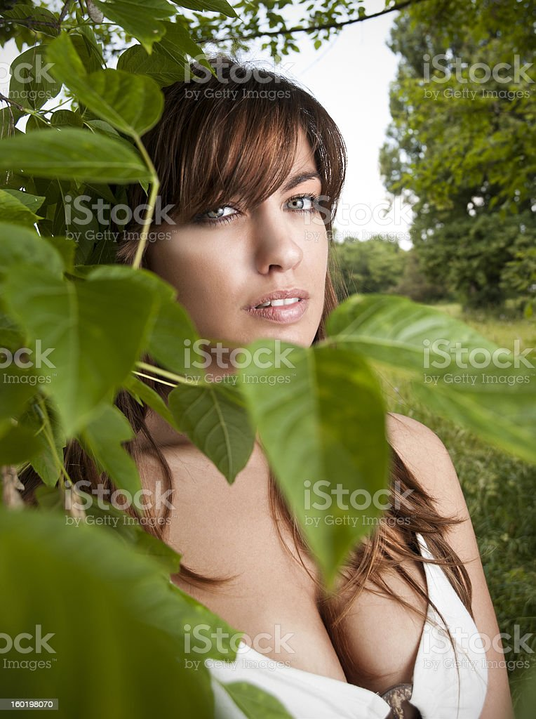 Cute young woman posing behind tree stock photo