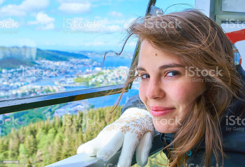 Cute young womans at Bergen stock photo