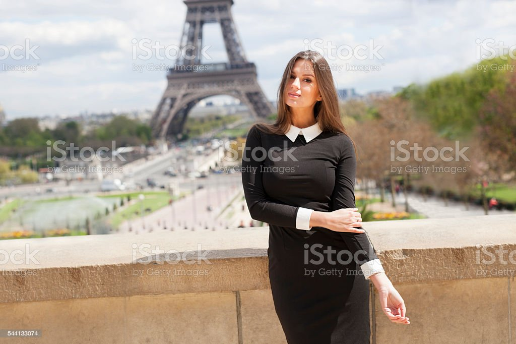 Cute Young Woman's Portrait At Champ de Mars stock photo