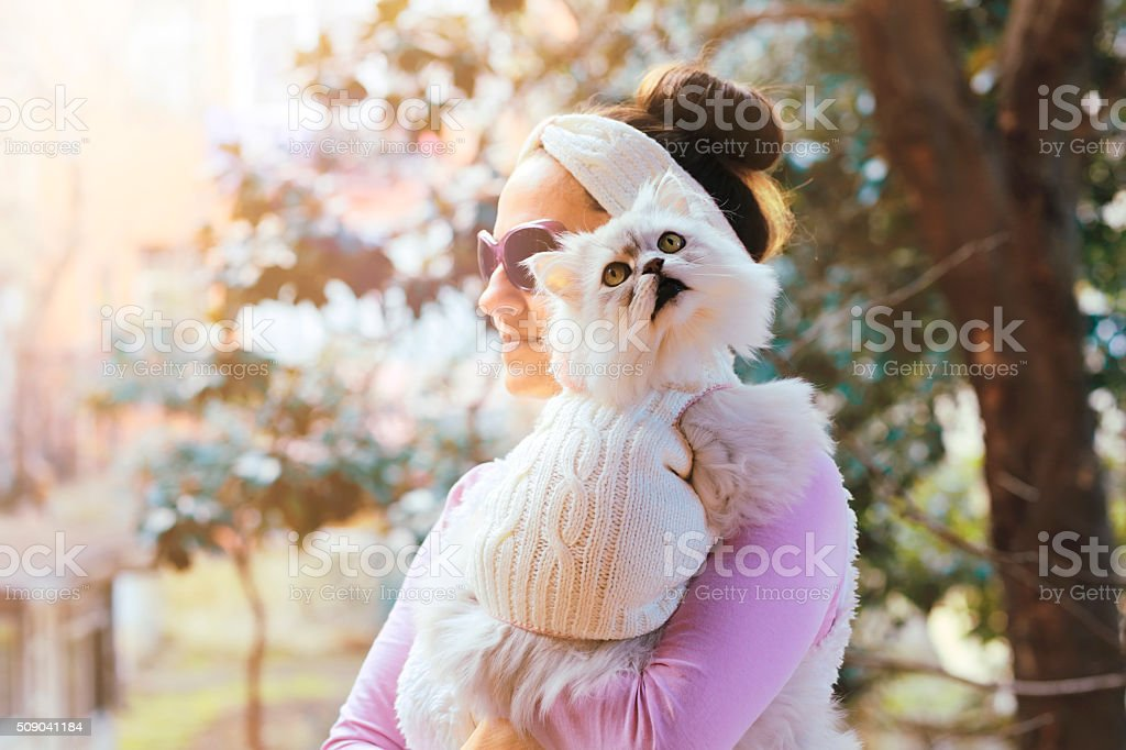 Cutest Best Friends Ever: Beautiful Woman and Her Cat stock photo