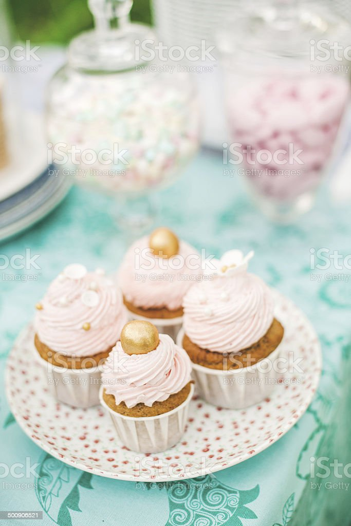 Cutest small cupcakes on a dessert table royalty-free stock photo