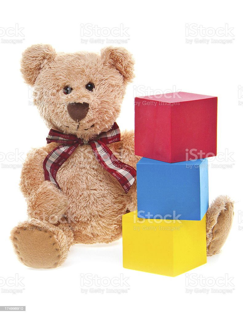 CuteTeddy Bear with Building Blocks, Isolated on White royalty-free stock photo