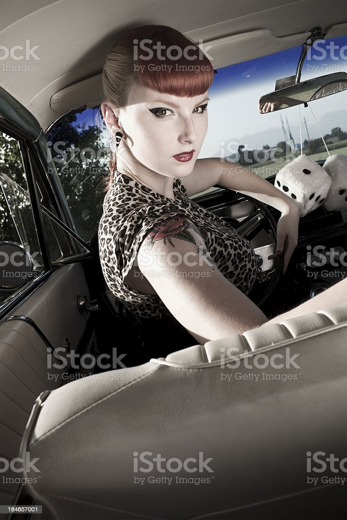 cutie driving a car royalty-free stock photo
