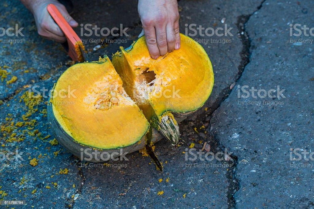 Cuting Pumpkins stock photo
