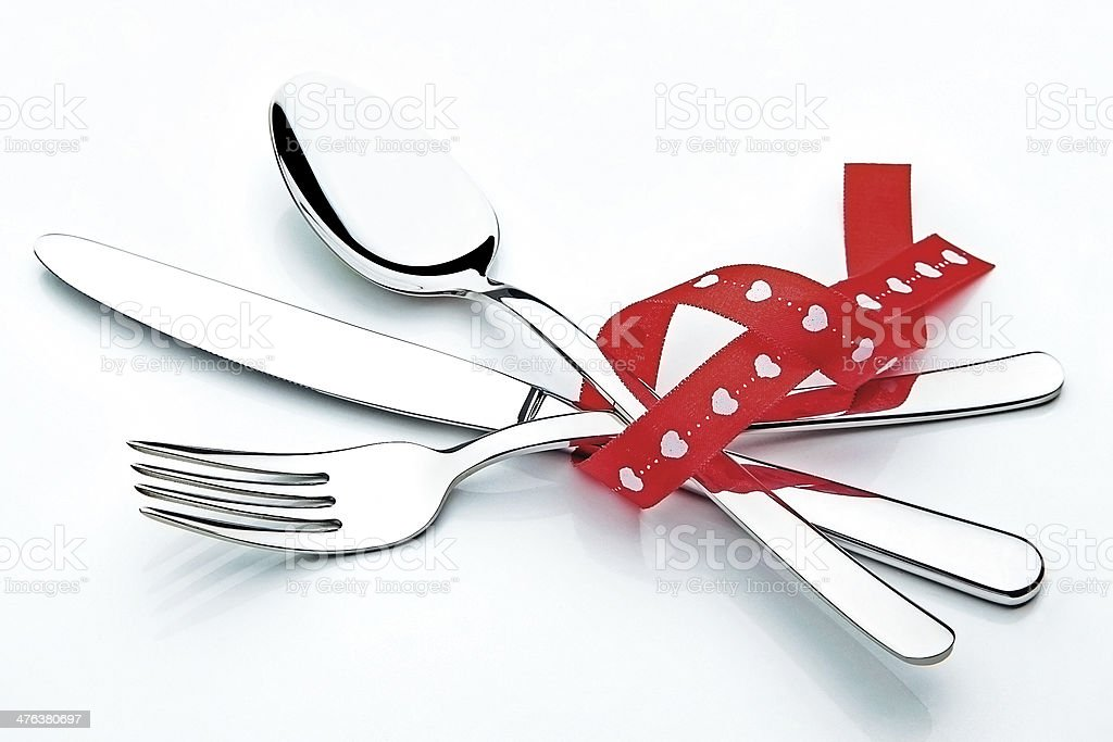 Cutlery And Ribbon royalty-free stock photo