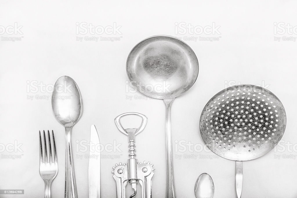 Cutlery and various kitchen tools stock photo