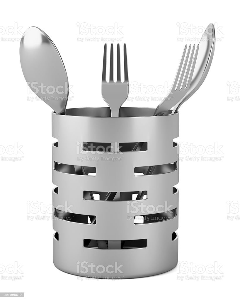 cutlery drainer with forks and spoons isolated on white background stock photo
