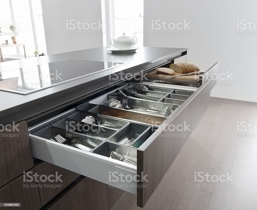 Cutlery drawer stock photo