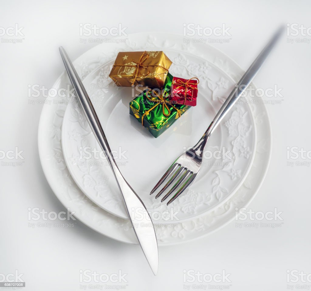 Cutlery for Christmas dinner stock photo