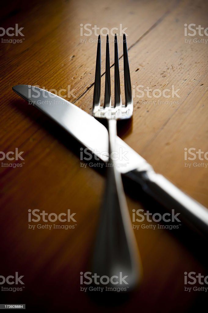 cutlery is Silver on kitchen table. Knife and fork. royalty-free stock photo