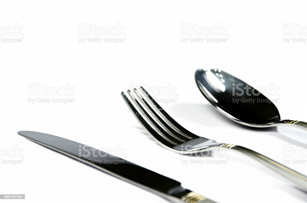 Cutlery Isolated, spatula, knife, spoon, fork, kitchen utensils stock photo