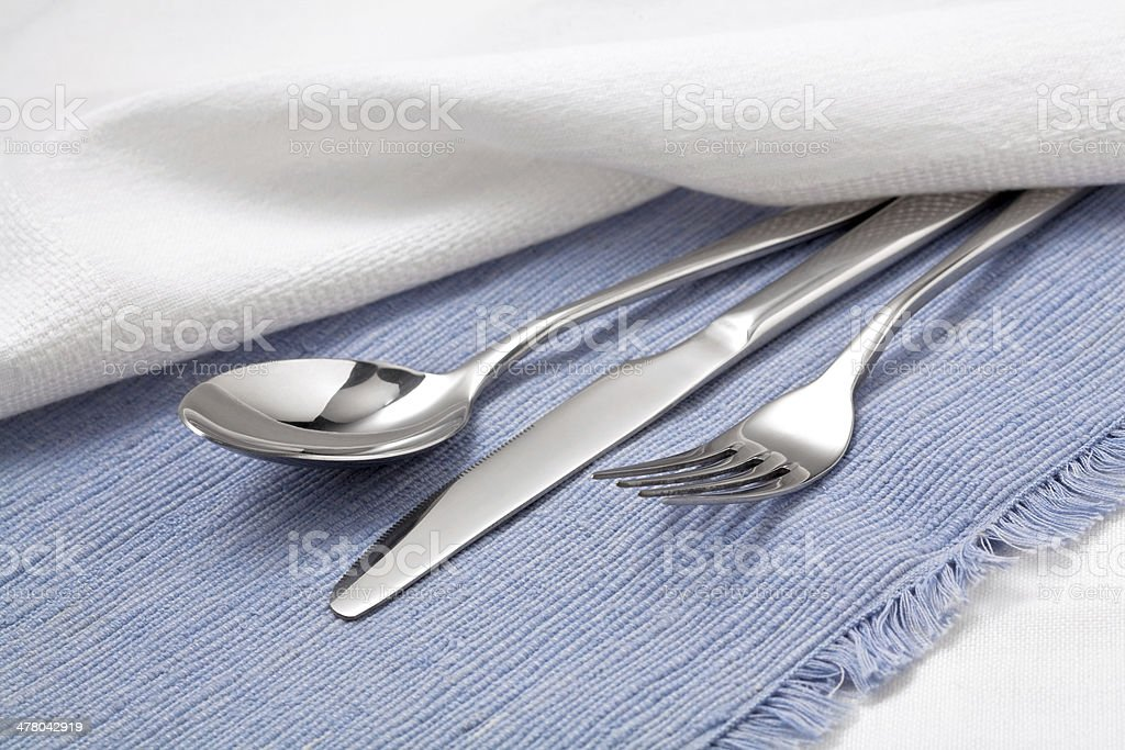 Cutlery on Blue royalty-free stock photo