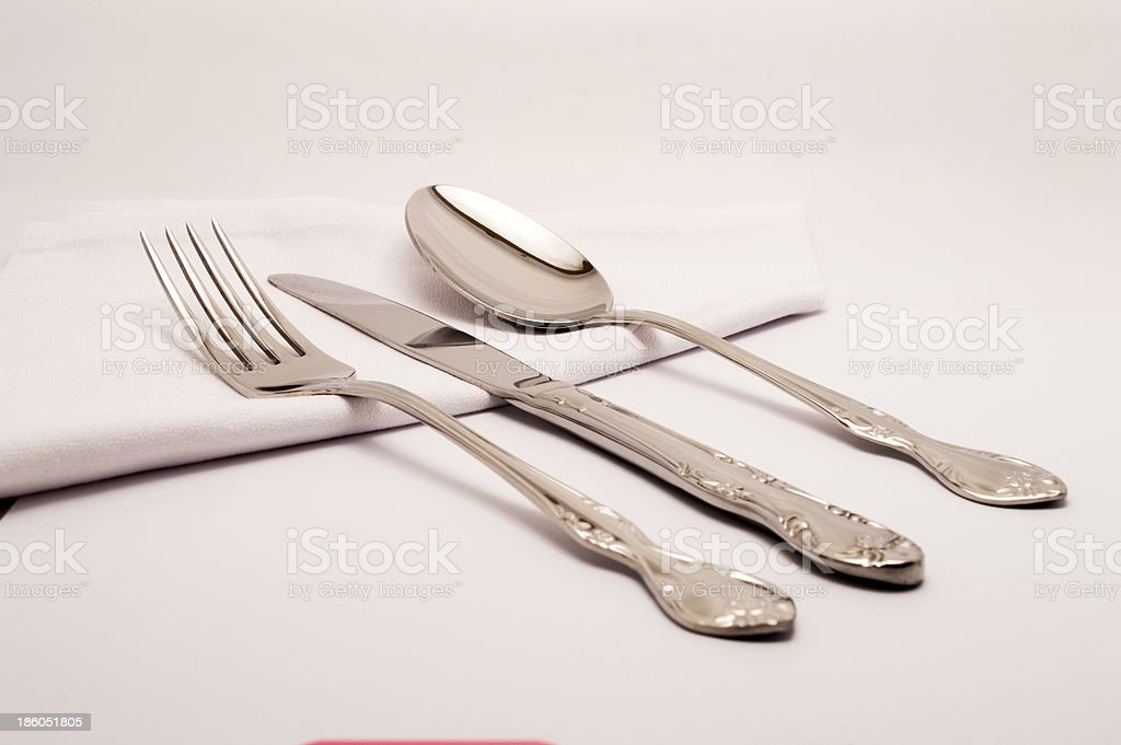 cutlery with a napkin royalty-free stock photo