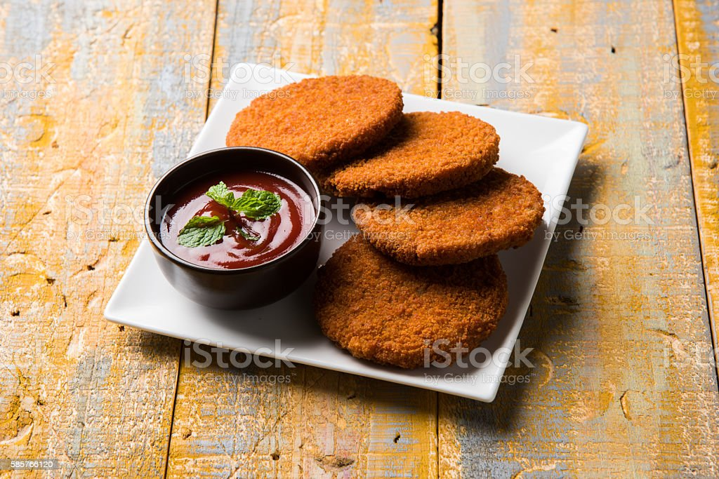 cutlet or fried potato or ragda patties / aloo tikki stock photo