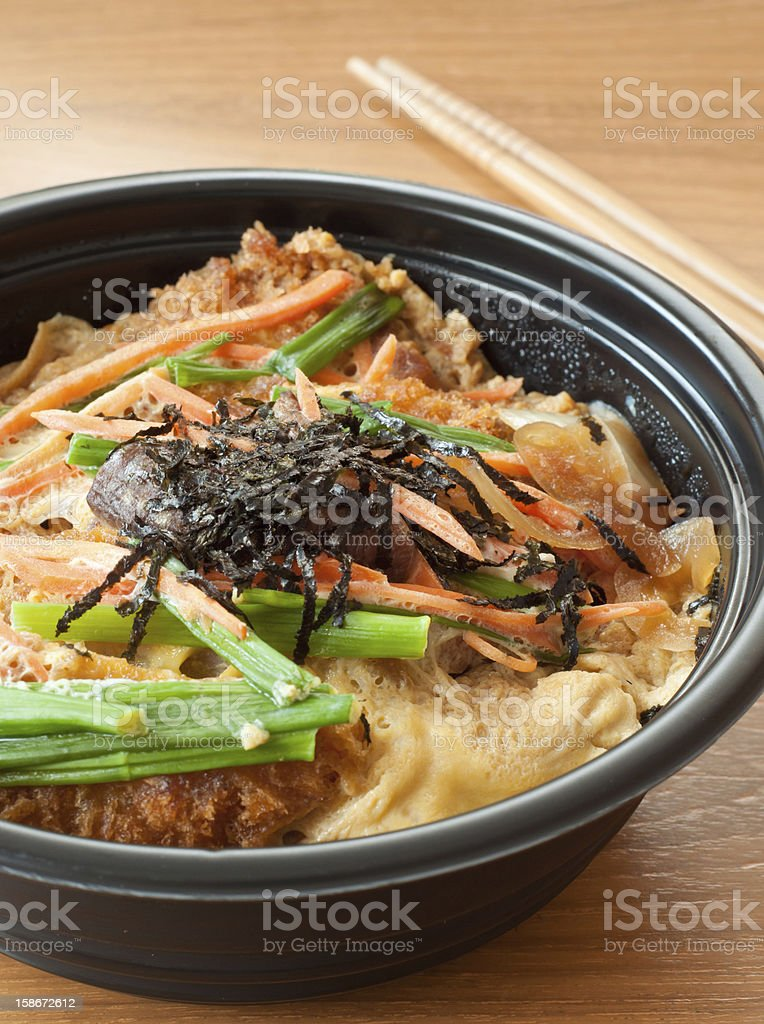 cutlet pork with egg on rice, tonkatsu royalty-free stock photo