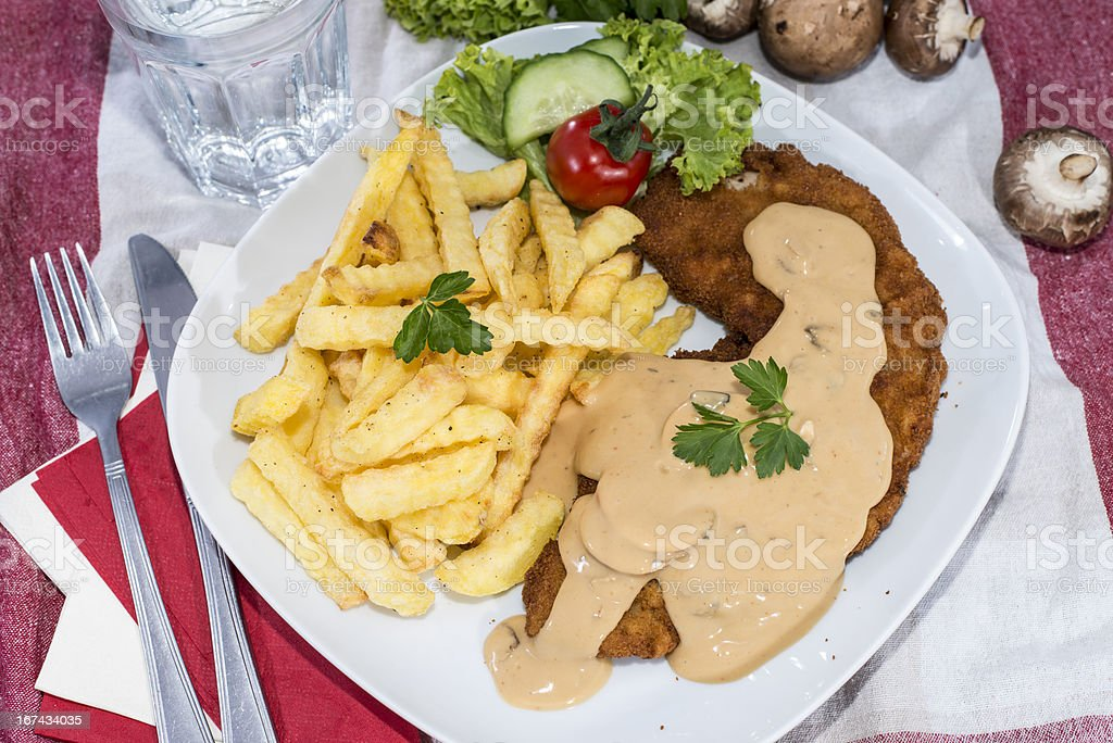 Cutlet with Mushroom Sauce royalty-free stock photo