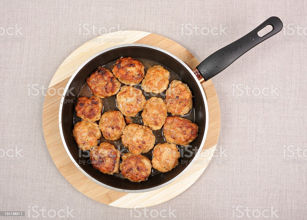 Cutlets in Frying Pan royalty-free stock photo